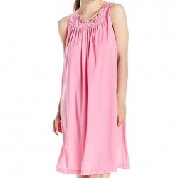 Sleeveless Mid-Length Nightgown - Rosy Pink