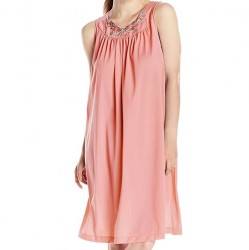 Sleeveless Mid-Length Nightgown - Melon