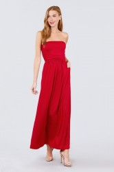 Solid Knit Maxi Dress with Shirred Waist - Red