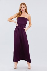 Solid Knit Maxi Dress with Shirred Waist - Purple