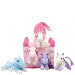 "11"" Pink Castle with 5 Soft Horses"