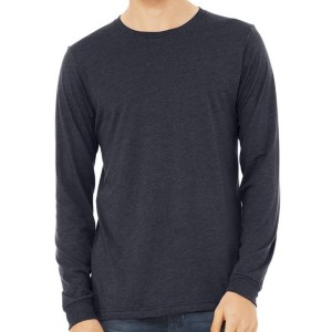 Canvas 100% Ringspun Cotton Long Sleeve T-Shirt - HEATHER NAVY