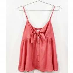 Solid Cami Tank with Bow Front - Coral