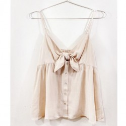 Solid Cami Tank with Bow Front - Natural