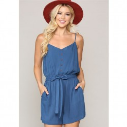 Solid Spaghetti Strap Romper with Button Front and Tie Waist - Blue Denim