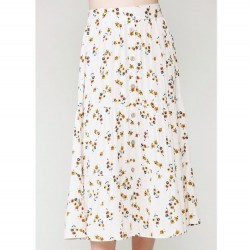 Floral Print Tiered Midi Skirt with Button Front - Natural