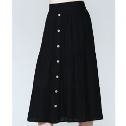 Solid Tiered Midi Skirt with Button Front - Black