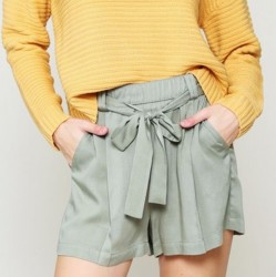 Solid High Rise Shorts with Tie Waist - Sage