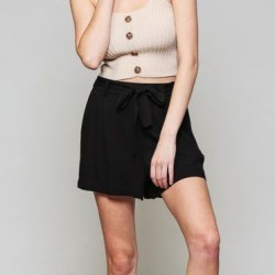 Solid High Rise Shorts with Tie Waist - Black