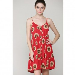 Floral Print Flowy Woven Tiered Dress - Coral