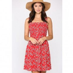 Floral Print Smocked Dress with Ruffled Straps - Red