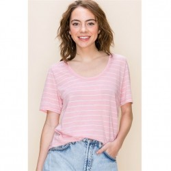 Striped Scoop Neck Tee - Pink/White