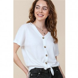 Waffle Knit Button Front Top with Tie Hem - Off White