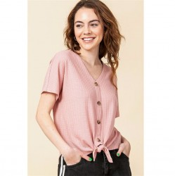 Waffle Knit Button Front Top with Tie Hem - Desert Rose