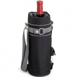 Single Wine Bottle Tote - Black