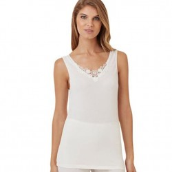Cuddl Duds Lace Detail Camisole - Ivory