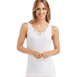 Cuddl Duds Lace Detail Camisole - White