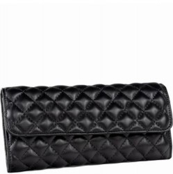 Travel Jewelry Quilted Pouch - Black