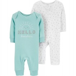 Infant Carters 2 Pack Hello Sunshine Coveralls