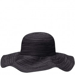 Wallaroo Scrunchie Dotted Ribbon Hat - Black Dot