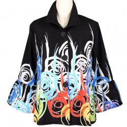 Abstract Swirl Print Button Front Jacket