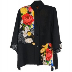 Black Floral Colorblock Jacket