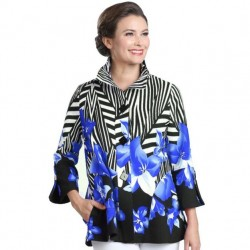 Blue Zebra Stripe Button Front Jacket