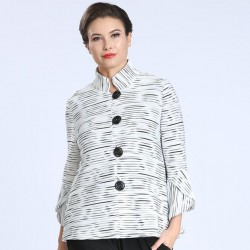 Textured Stripe Swing Jacket with Bell Sleeves