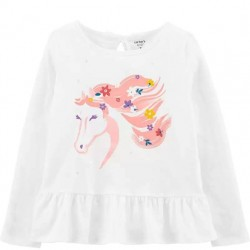 4 to 6X Girls Carters White Floral Horse Top