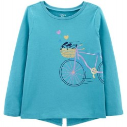 4 to 6X Girls Carters Turquoise Bike Jersey Tee