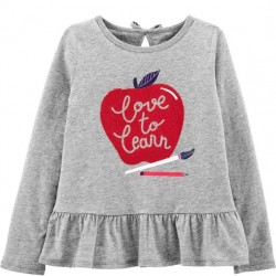 4 to 6X Girls Carters Apple of Daddy's Eye Peplum Jersey Tee