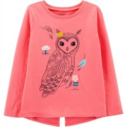 4 to 6X Girls Carters Pink Owl Top