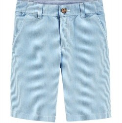 4 to 7 Boys Carters Blue Striped Flat Front Short