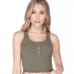 Ribbed Racerback Crop Top with Snap Button Front - 4 Colors