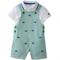 Infant 2 pc Whale Polo Shirt and Shortall Set