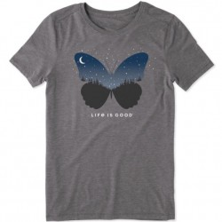 Life is Good Crew Neck Tee - Celestial Butterfly