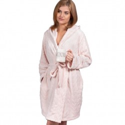 Hooded Plush Fleece Robe - Millennial Pink