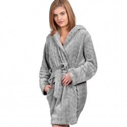 Hooded Plush Fleece Robe - Wild Dove
