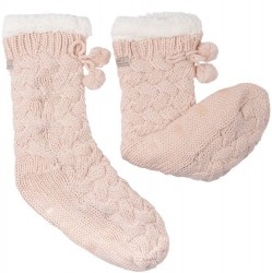 Pom Pom Lounge Sock with Grippers - Millennial Pink