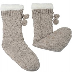 Pom Pom Lounge Sock with Grippers - Silver Cloud
