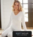 Cuddl Duds Softwear With Lace Edge Long Sleeve V neck Style #CD8512035