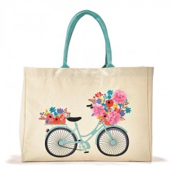 Canvas Tote Bag - Bicycle of Flowers