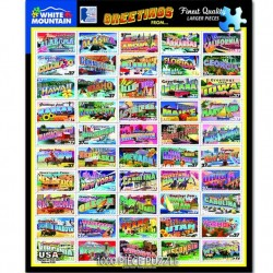 White Mountain 1000 pc Puzzle - State Greetings Stamps