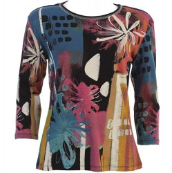 3/4 Sleeve Printed Cotton Top - Black Provence Abstract