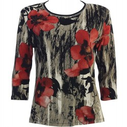 3/4 Sleeve Printed Cotton Top - Red Petals Floral