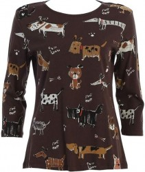 3/4 Sleeve Printed Cotton Top - Chocolate Critter Dogs