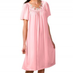 Mid-length Nightgown with Petal Embroidered Detail - Pink