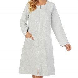 Eileen West Zip Up Quilted Robe - Grey