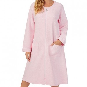 Eileen West Zip Up Quilted Robe - Pink