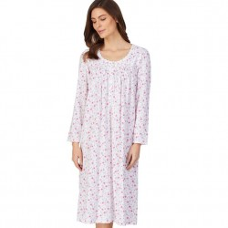 Eileen West Mid-Length Nightgown - White/Pink Ditsy Floral